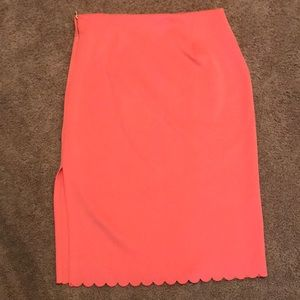Coral Side Slit Pencil Skirt